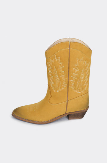 Dakota Vegan Leather Cowboy Boots in Mustard Yellow