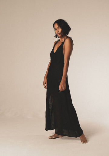 Bora Bora Organic Linen Maxi Dress in Black - Pre Order