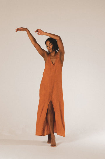 Bora Bora Organic Linen Maxi Dress in Sunset - Pre Order