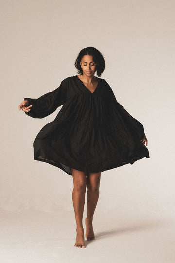 Symi Organic Cotton Mini Dress in Black - Pre Order