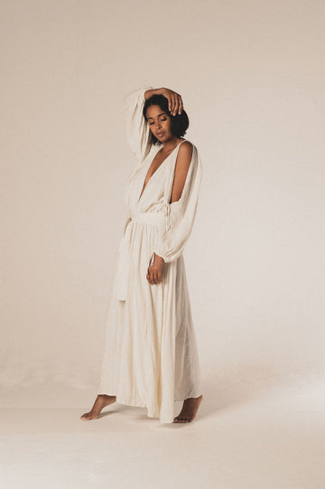 Bohemia Organic Cotton Maxi Dress in Milk - Pre Order