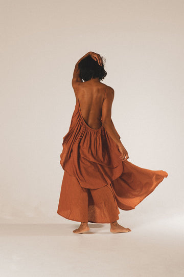 Syros Organic Cotton Maxi Dress in Copper - Pre Order