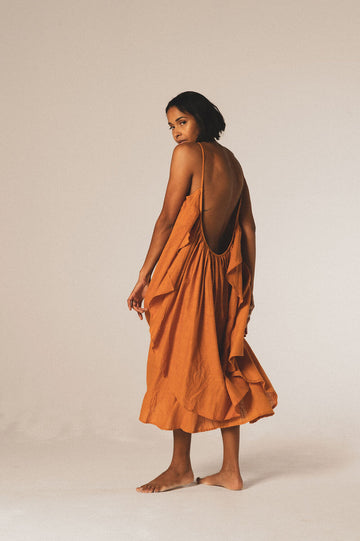 Grace Organic Cotton Midi Dress in Sunset - Pre Order
