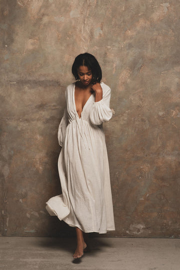 Wild Heart Organic Cotton Maxi Dress in Milk - Pre Order