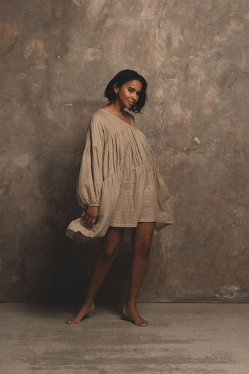 Symi Organic Cotton Mini Dress in Sand - Pre Order