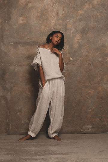 Elemental Linen Trousers in White - Pre Order