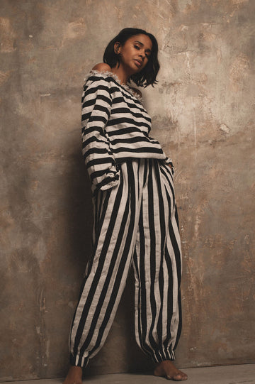 Elemental Linen Trousers in Stripe - Pre Order