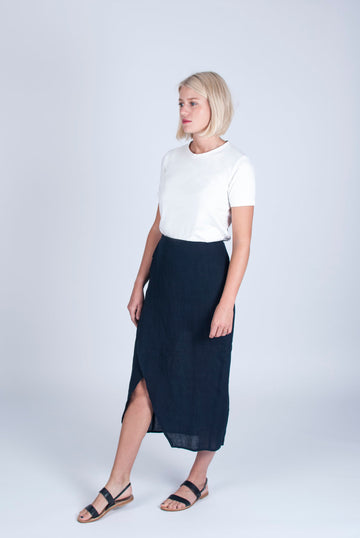 Linen Wrap Skirt in Navy