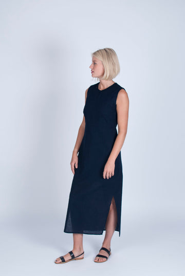 Organic Cotton Midi Dress in Navy