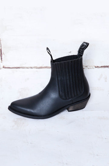 Duke Vegan Leather Cowboy Ankle Boots in Black