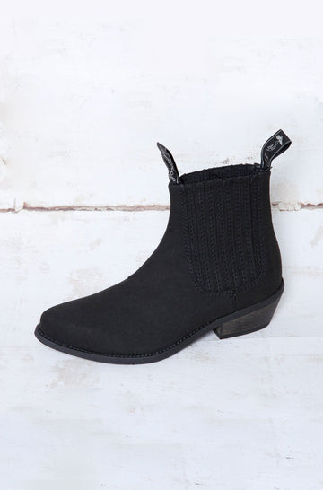 Duke Vegan Leather Cowboy Boots in Black