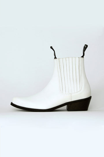 Duke Vegan Leather Cowboy Boots in White
