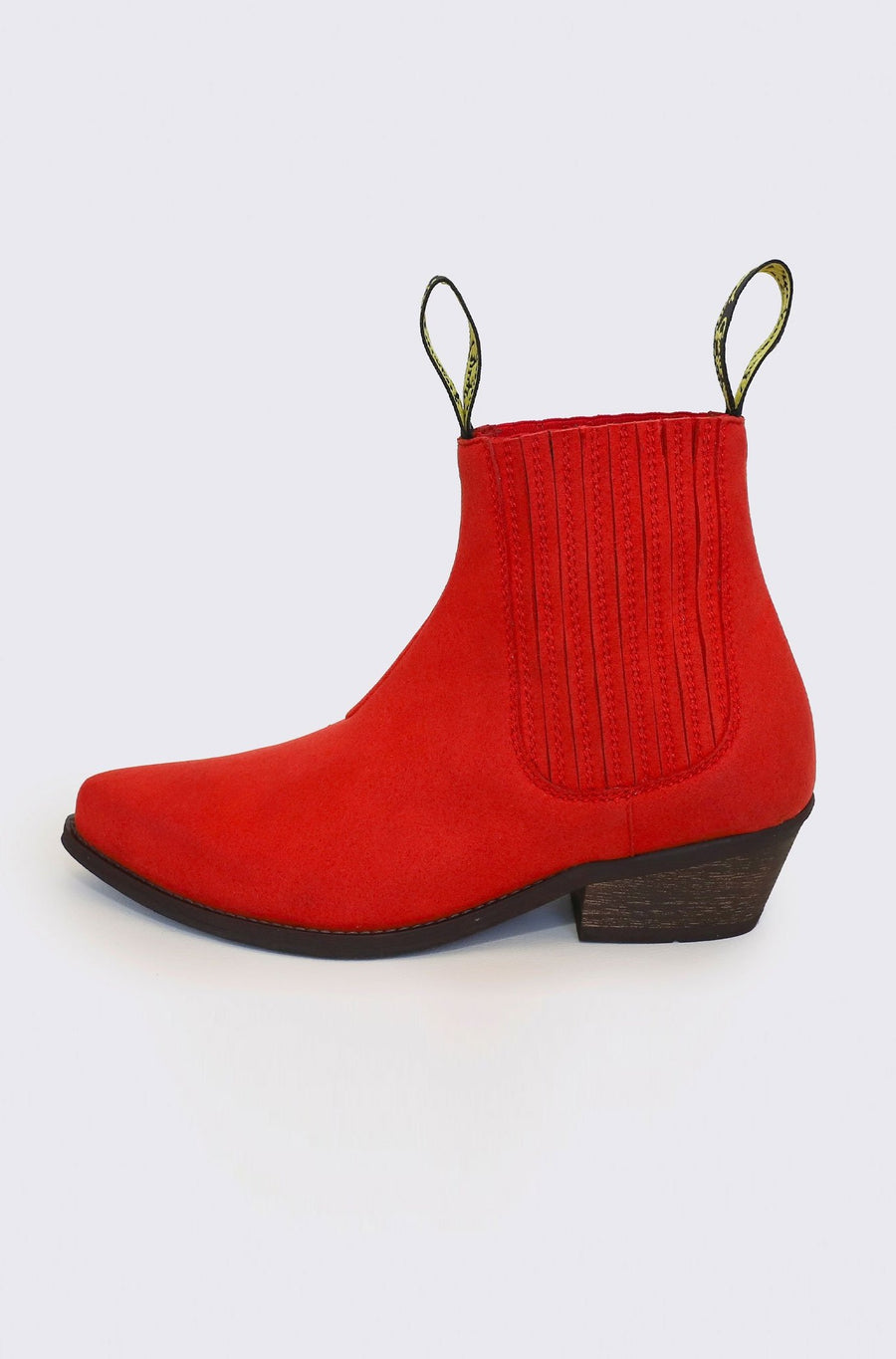 Duke Vegan Suede Cowboy Boots in Red