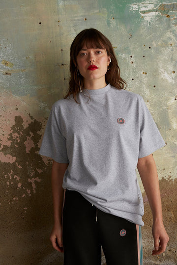 Recycled Cotton and Polyester Oversized Logo T-shirt in Grey