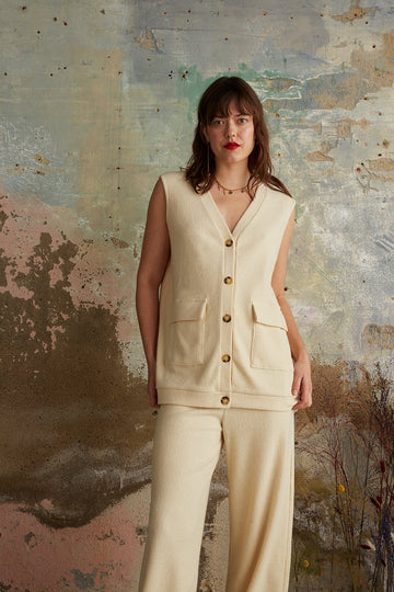 Recycled Polyester Ribbed Vest in Cream