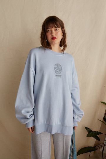 Organic Cotton Oversized Sweatshirt in Soft Blue