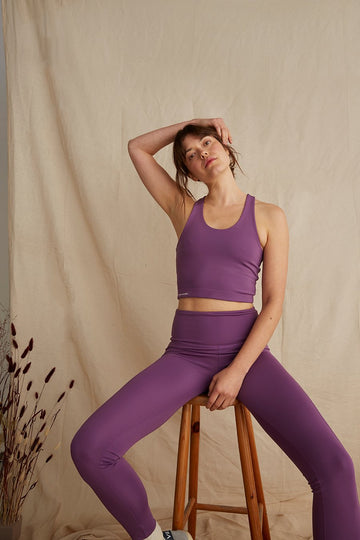 Recycled Polyester Active Crop Top in Plum