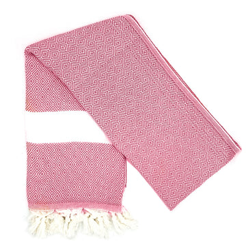 Organic Cotton Destan Hammam Towel in Coral Pink