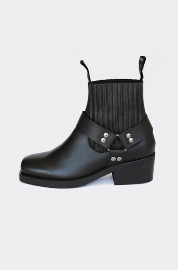 Eddie Moto Vegan Leather Ankle Boots in Black