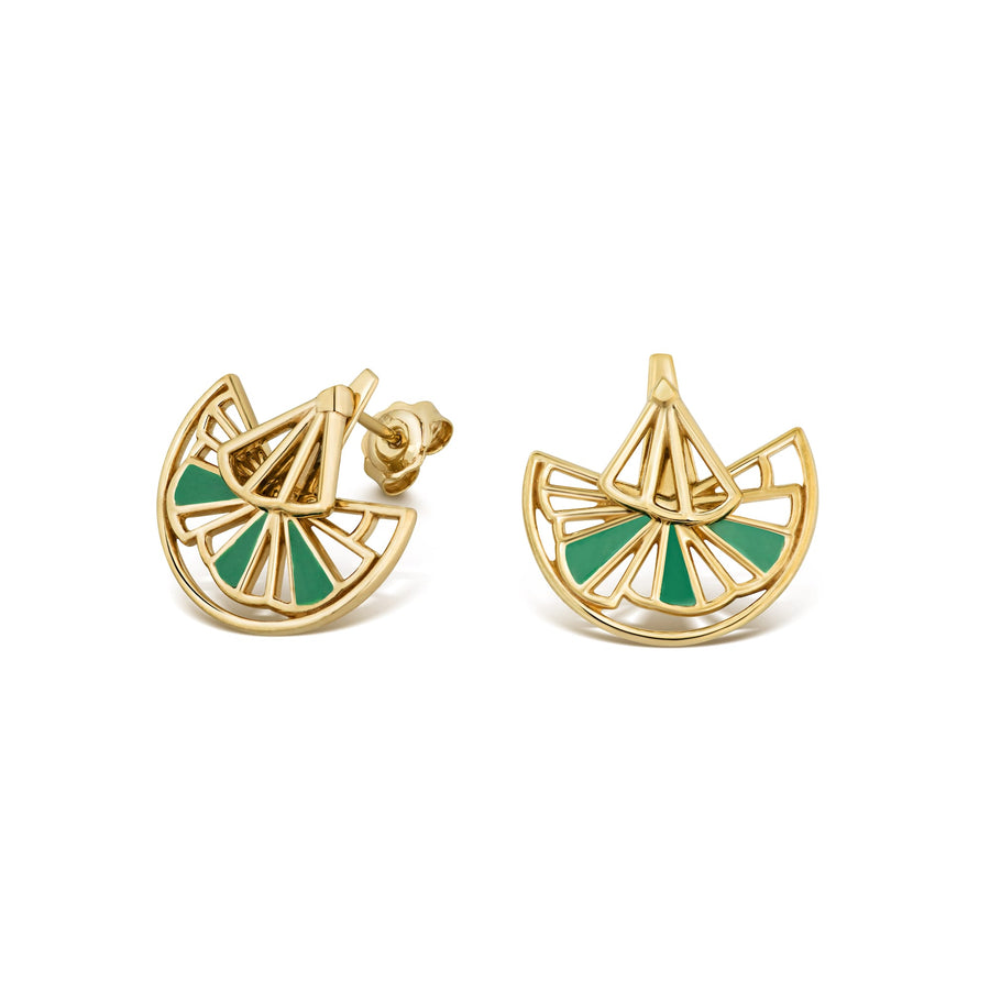 Green & Gold Wedge Ear Jackets