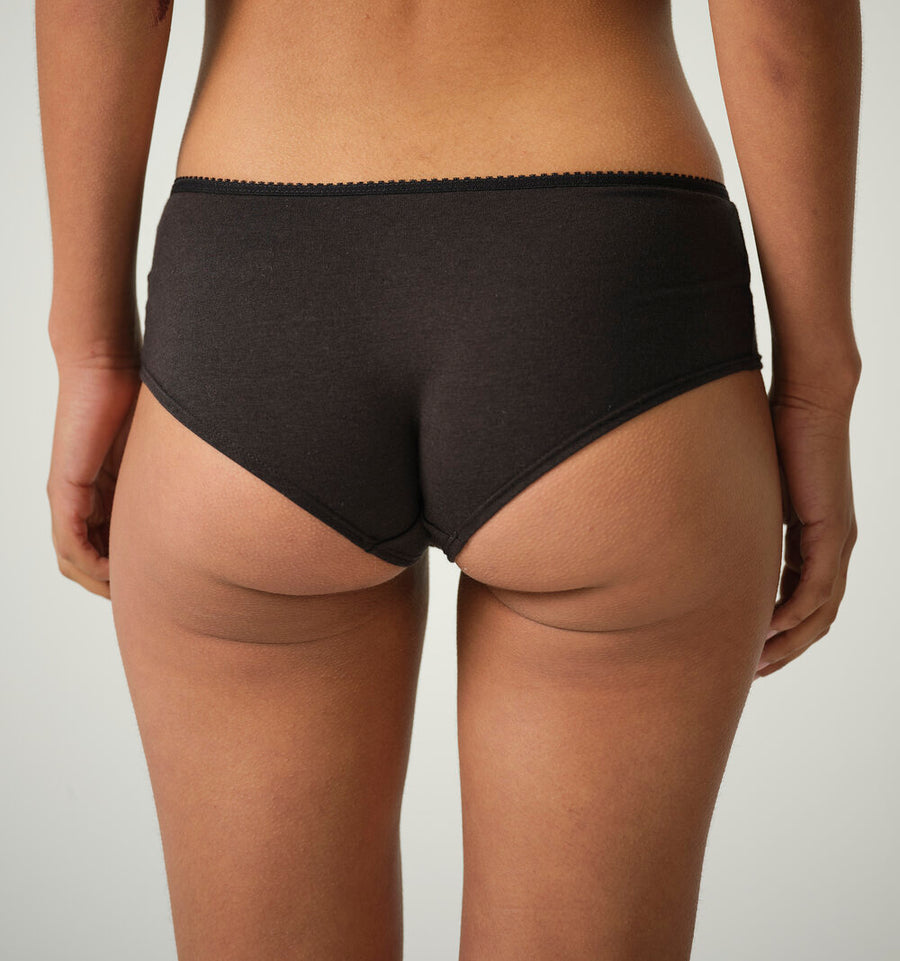 Bettie Hipster Short Brief in Organic Cotton Bamboo Jersey - Black or Natural White