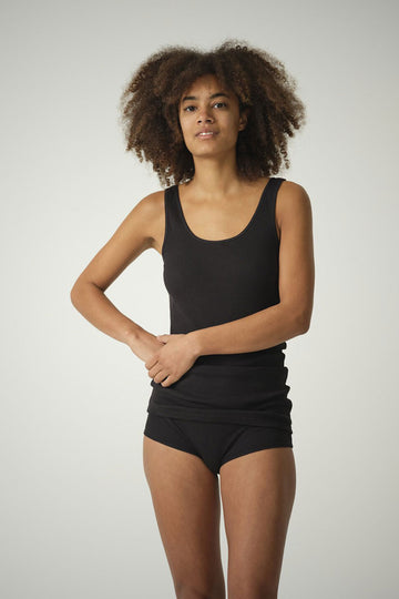 Bettie Hipster Short in Organic Cotton Rib - Black or Natural White