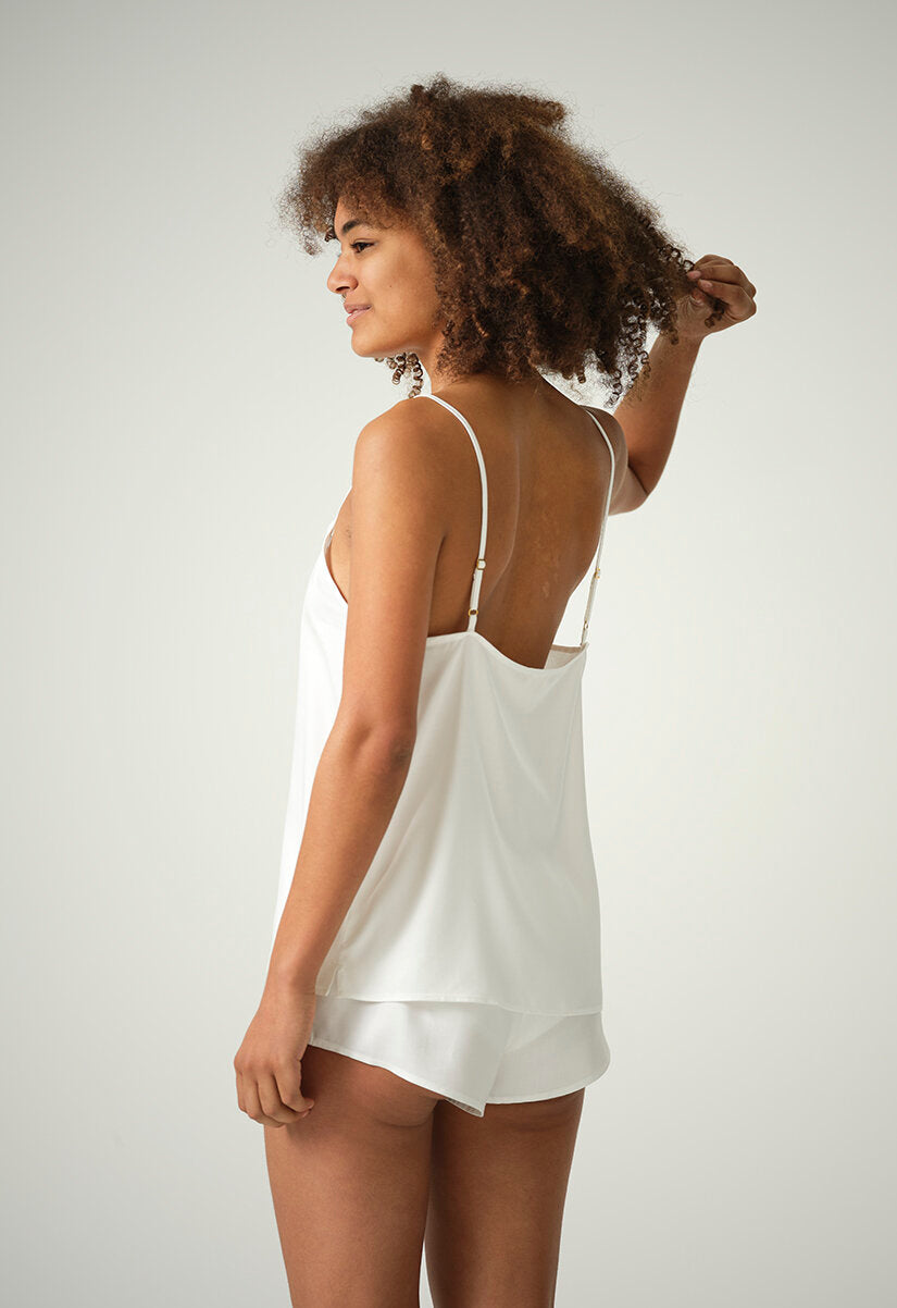 Hattie Cami in Bamboo Silk - Black or Natural White