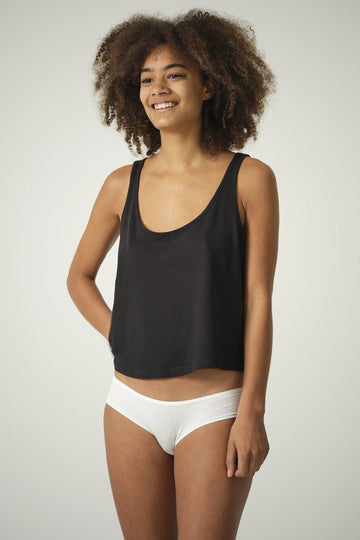 Jane 2 Pack Organic Cotton and Bamboo Silk Mix Briefs in Black or Natural White
