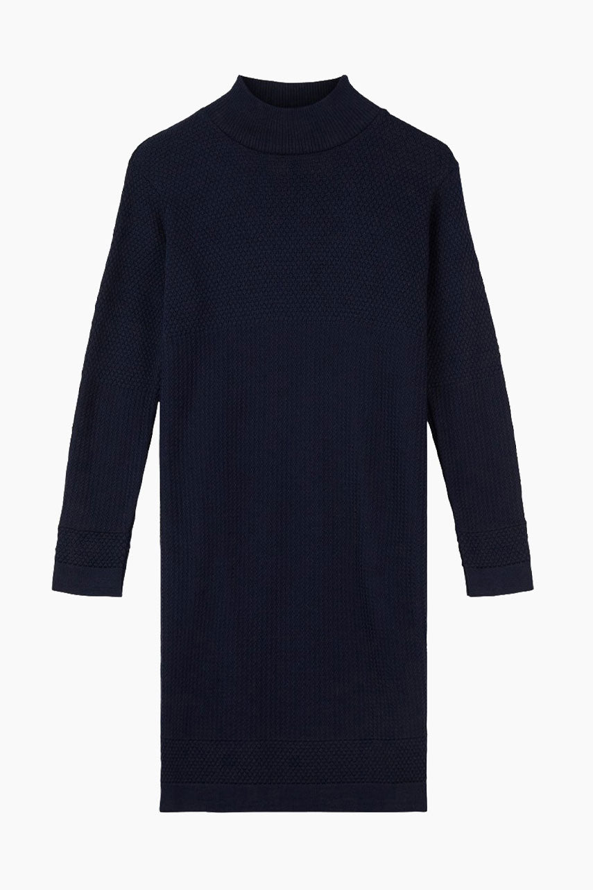Fiord Seed Organic Wool Midi Dress - Navy