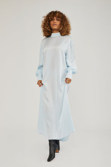 Talia High Neck Maxi Dress in Soft Blue