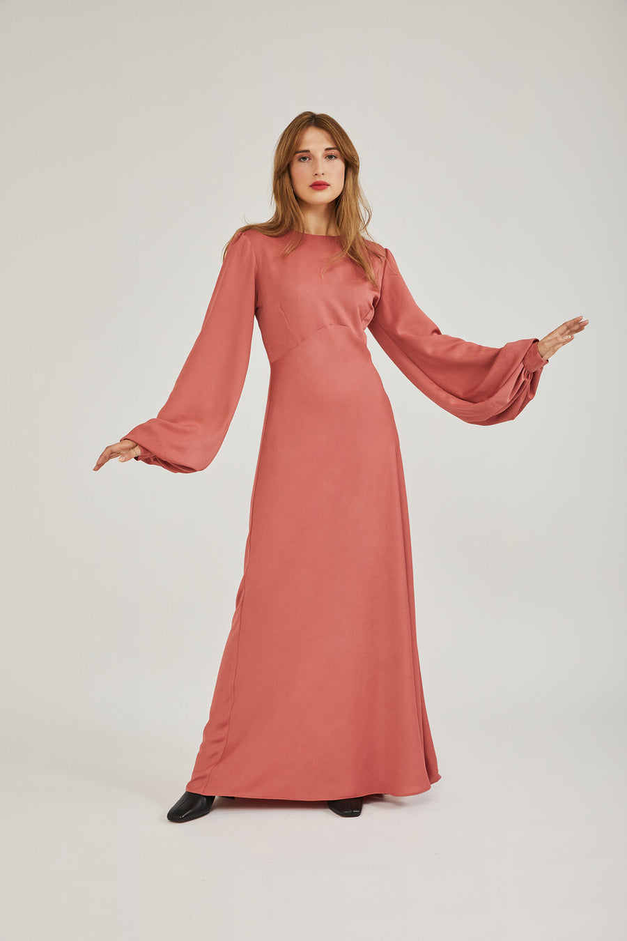 Wendy Satin Dress in Coral