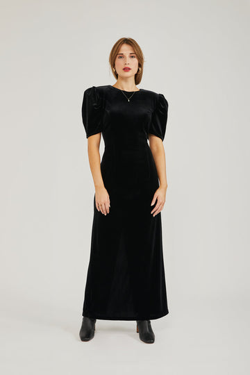 Falcus Velvet Dress in Black