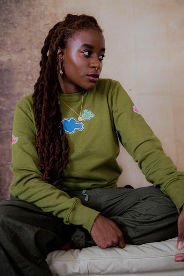 Unisex Cloud Organic Cotton Sweatshirt in Green.