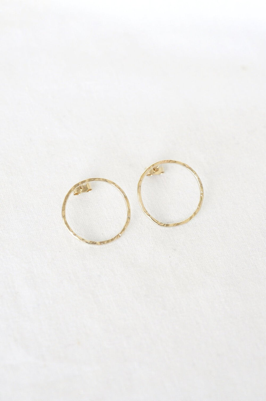 9ct Gold Hammered Circle Stud Earrings