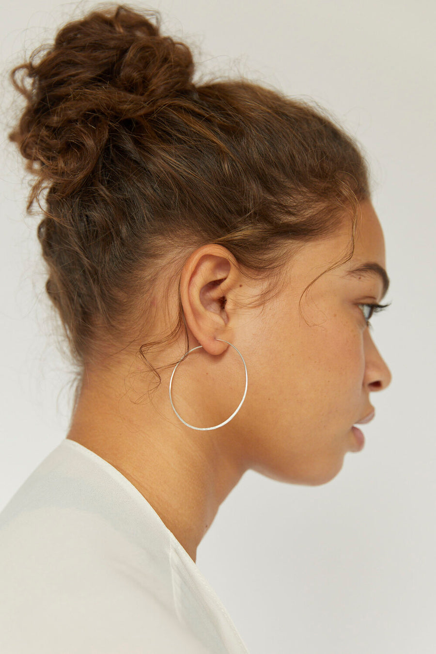 Hammered Simple Silver Hoop Earrings