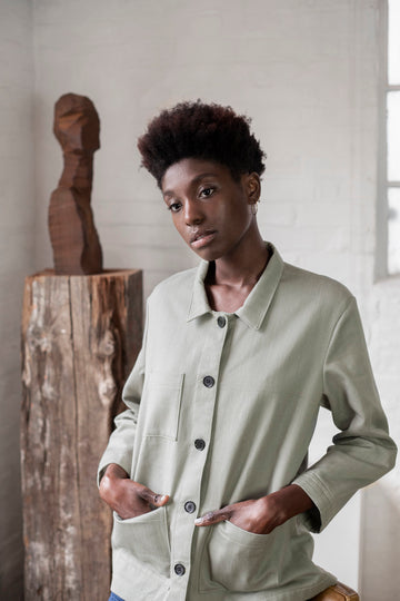 Organic Denim Workwear Jacket in Garden Room Green
