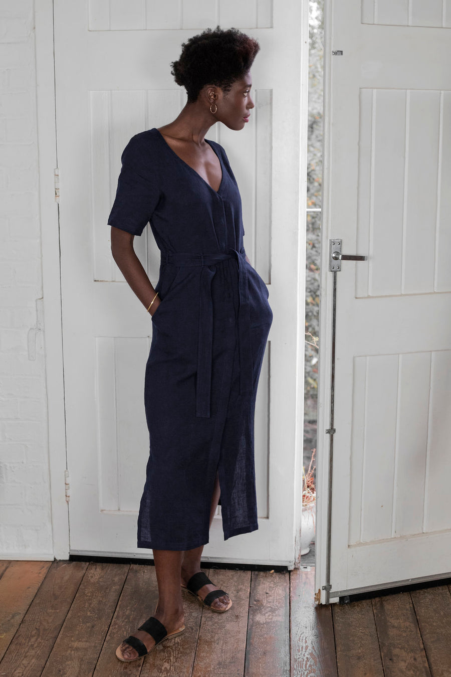 Linen Midi Dress in Navy