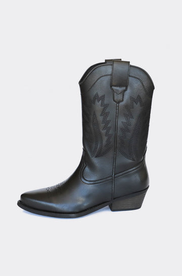 Lucky Vegetable Leather Cowboy Boots in Black