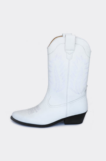 Lucky Vegetable Leather Cowboy Boots in White