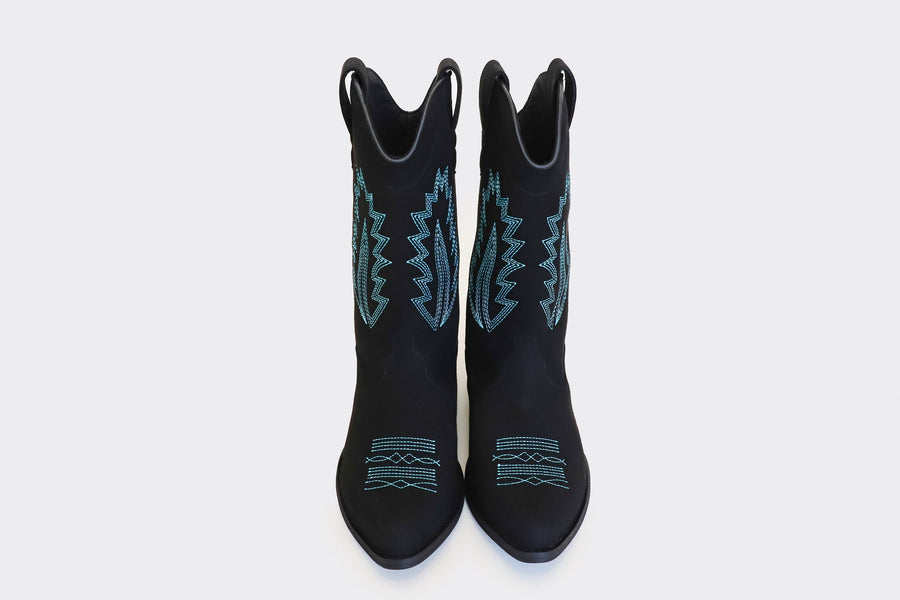 Lucky Vegan Suede Western Boots in Black with Embroidery