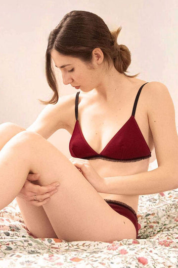 Laïta Organic Cotton Bra in Burgundy