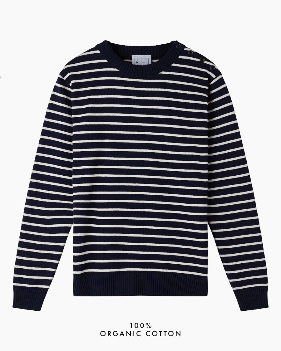 Coastal Stripe Organic Cotton Jumper - Navy/White