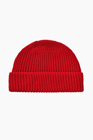 Grain Rib Organic Wool Hat - Red