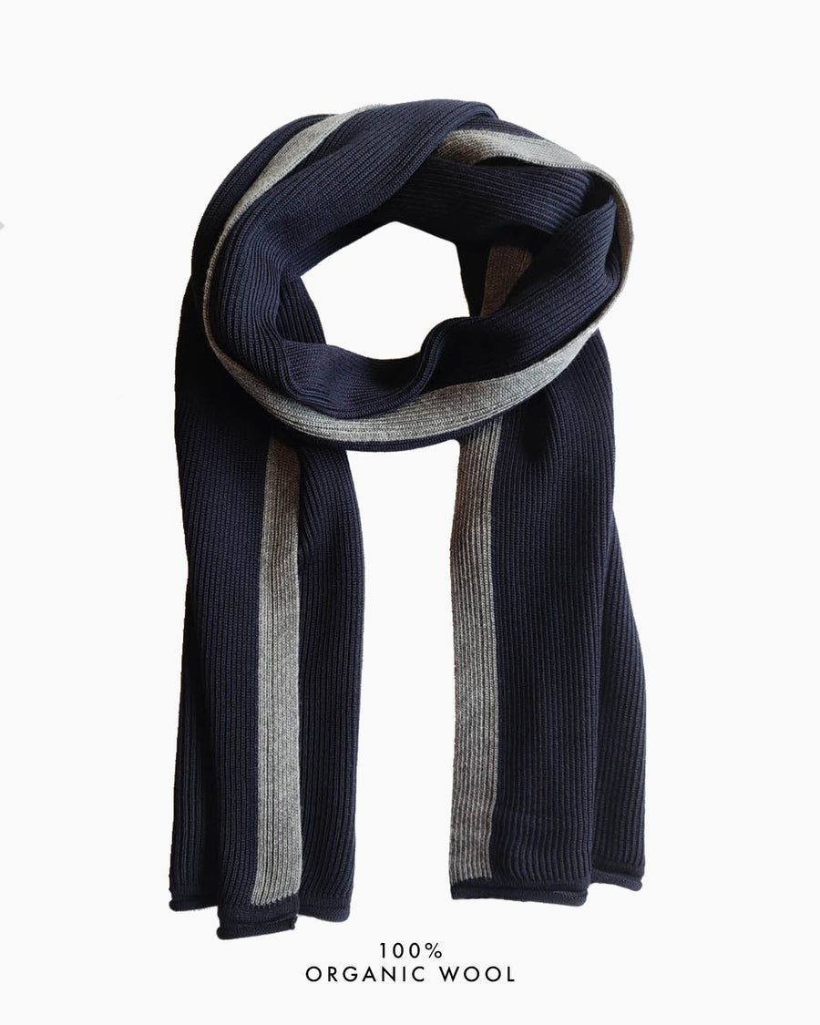 Coastal Stripe Organic Wool Scarf - Navy