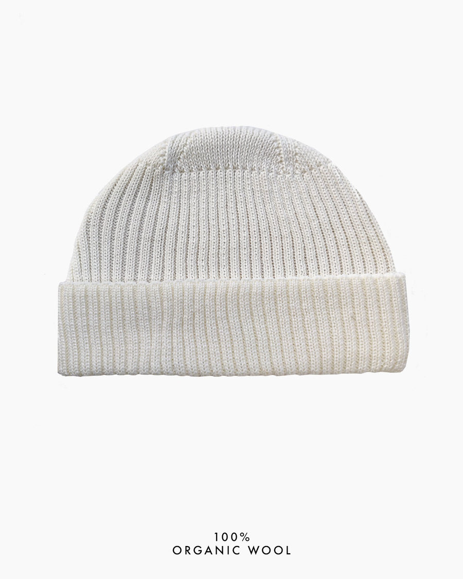 Grain Rib Organic Wool Hat - White