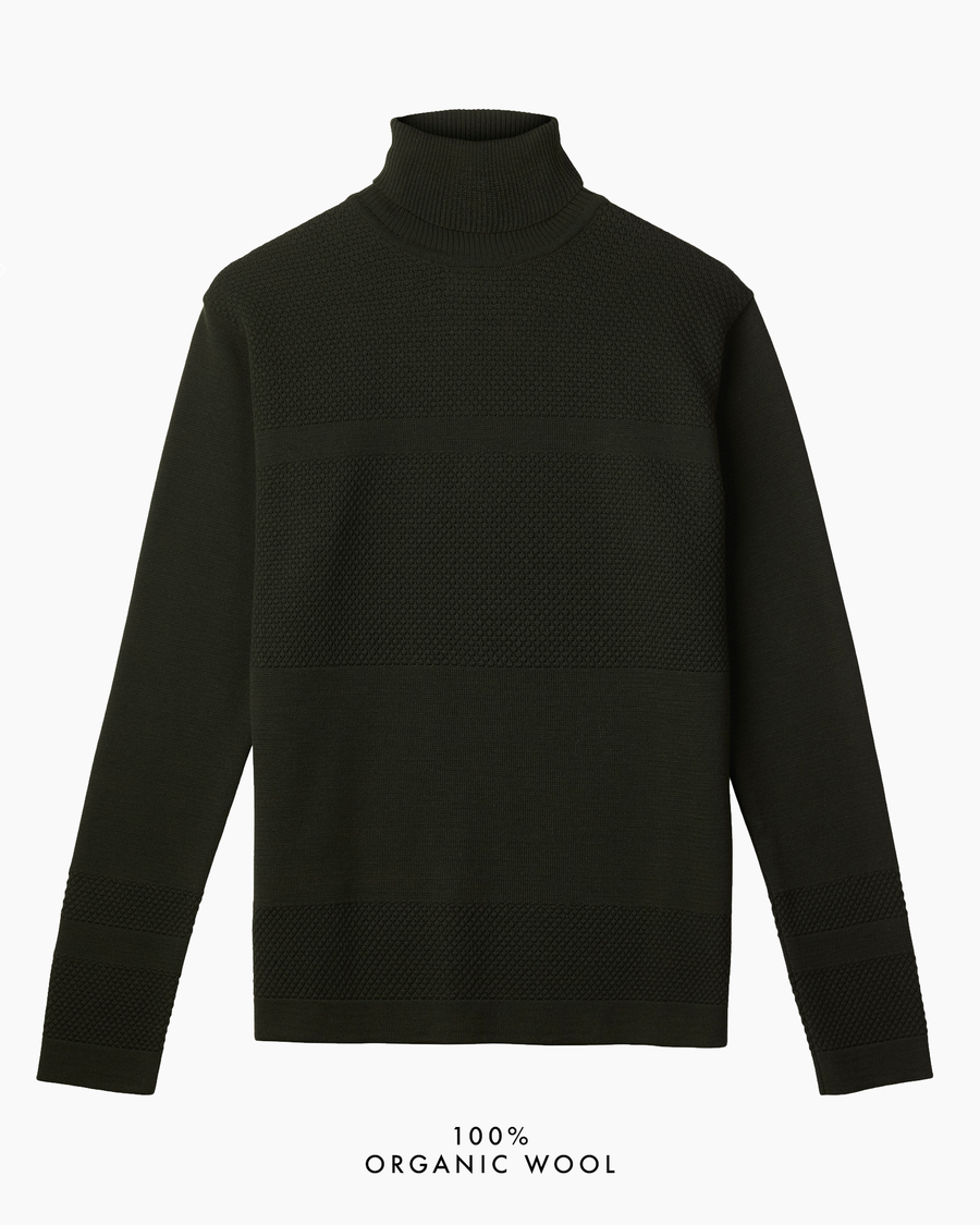 Wex Sailor Organic Wool Turtleneck - Dark Green (Army)