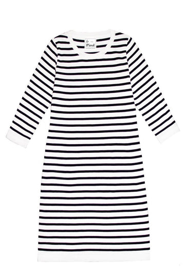 Flora Cotton Stripe Organic Cotton Dress - White/Navy