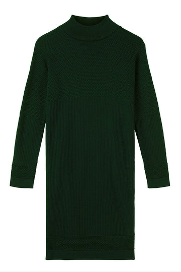 Fiord Seed Organic Wool Mini Dress - Army Dark Green