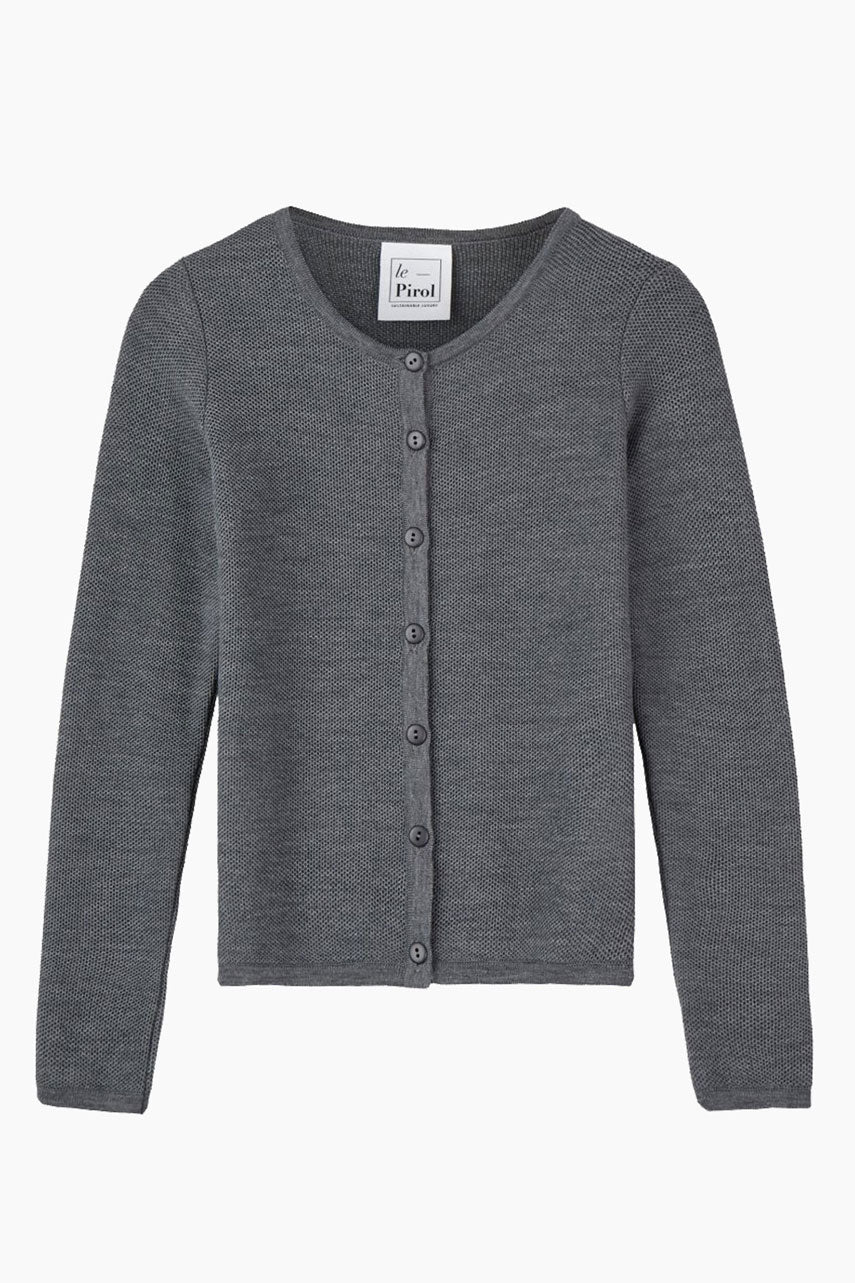 Soft Cloud Organic Wool Cardigan - Grey