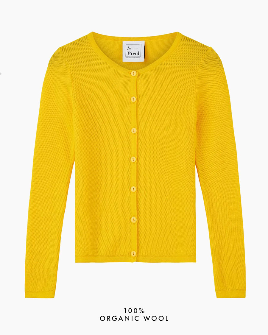 Soft Cloud Organic Wool Cardigan - Yellow